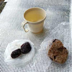根府川道場のお昼のお弁当/小さな玄米おにぎり、プルーン、生姜湯